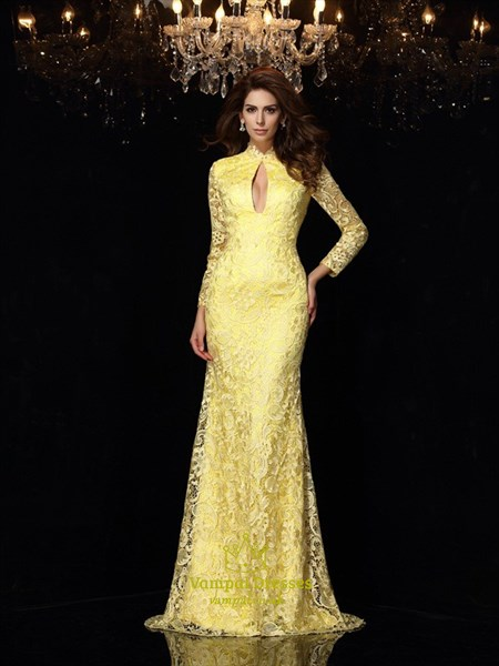 Yellow Lace Long Sleeve Open Back Mermaid Prom Gown With Keyhole Front