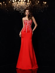 Red Strapless Sweetheart Neckline Long Formal Dress With Appliques