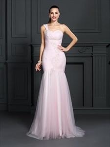 Blush Pink One Shoulder Sweetheart Dropped Waist Long Formal Dress