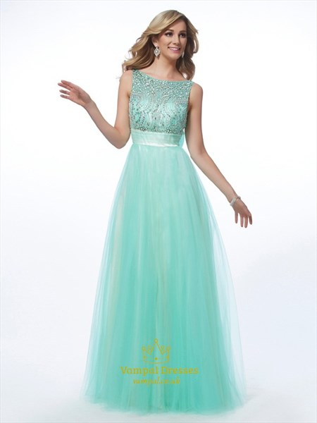 A-Line Sleeveless Jeweled-Bodice V-Back Prom Dress With Bow On Back