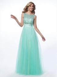 A-Line Sleeveless Jeweled-Bodice V-Back Prom Dress With Bow On Back