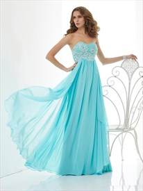 Aqua Blue Strapless Empire Waist Beaded Top Chiffon A-Line Prom Dress