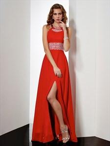 Red Floor-Length Sleeveless Beaded Empire Waist Prom Dress With Slit
