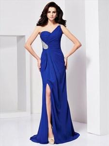 Royal Blue One Shoulder Sweetheart Floor-Length Beaded Formal Dress
