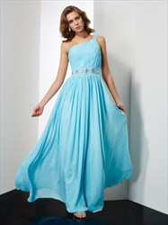One Shoulder Beaded Waist Ruched Chiffon A-Line Floor Length Prom Gown