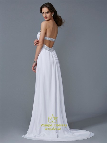 White Strapless Empire Waist Beaded Chiffon Prom Dress With Open Back