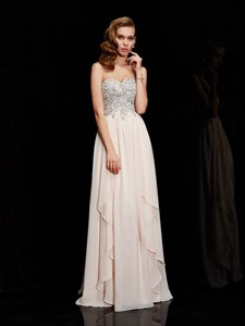Light Peach A-Line Strapless Sweetheart Floor-Length Chiffon Prom Gown