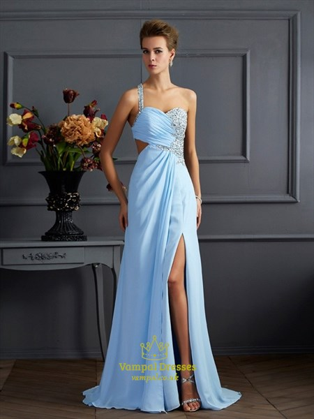 Light Blue Sweetheart Side Cutout Long Prom Dress With Beaded Strap