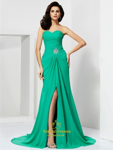 Green Strapless Sweetheart Chiffon Long Formal Dress With Split Front