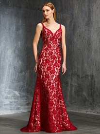 Burgundy Lace Sleeveless V-Neck Floor-Length Open Back Formal Dress