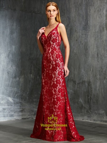 Burgundy Lace Sleeveless V-Neck Floor-Length Open Back Formal Dress