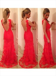 Backless Sleeveless Red Lace Overlay Floor Length A-Line Evening Dress
