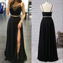Black Two Piece Spaghetti Strap A-Line Prom Dress With Sheer Neckline