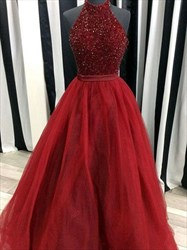 Elegant Burgundy Sleeveless Beaded Bodice A-Line Organza Prom Dress