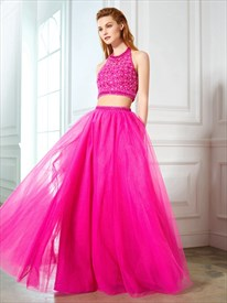 Two-Piece Halter Floor Length Beaded Top Tulle Skirt A-Line Prom Dress