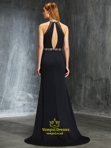 Black Sleeveless Jewel Embellished Chiffon Prom Dress With Side Slits