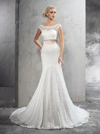 Trumpet/Mermaid Illusion White Lace Cap Sleeve Wedding Dress With Belt