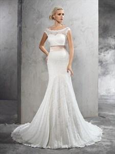 Trumpet/Mermaid Illusion White Lace Cap Sleeve Wedding Dress With Belt