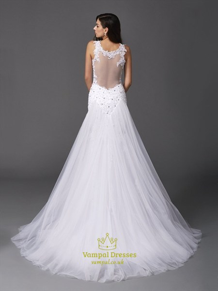 Sleeveless Lace & Beads Embellished Mermaid Wedding Dress With Straps