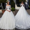 Off The Shoulder Half Sleeve A-Line Cathedral Train Wedding Ball Gown