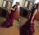 Burgundy Strapless Sweetheart Ruffled Mermaid Floor-Length Prom Dress