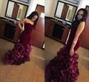 Burgundy Strapless Sweetheart Ruffled Mermaid Floor-Length Prom Dress