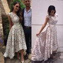 Simple A-Line High-Low Cap Sleeve Lace Long Prom Dress With Open Back