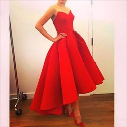 Red Simple Strapless A-Line Floor-Length High-Low Satin Formal Dress