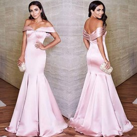 Trumpet/Mermaid Blush Pink Off The Shoulder Floor Length Prom Dress