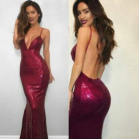 Plunge V Neck Burgundy Sequin Spaghetti Strap Backless Evening Dress