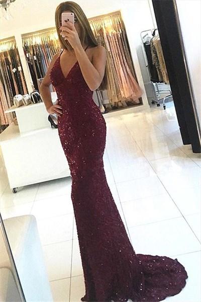 Burgundy Spaghetti Strap V Neck Beads Embellished Lace Long Prom Dress