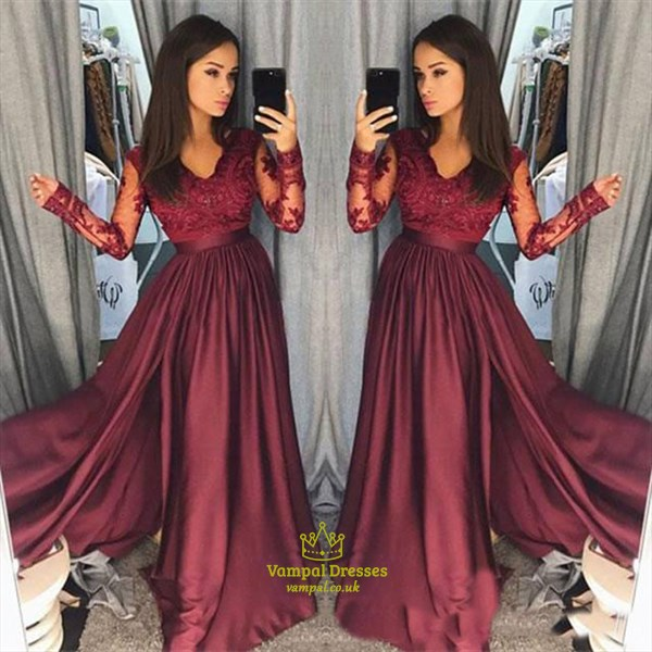 A-Line Long Sleeve V-Neck Taffeta Prom Dress With Illusion Lace Bodice