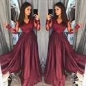 A-Line Long Sleeve V-Neck Taffeta Prom Dress With Illusion Lace Bodice