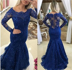 Royal Blue Mermaid Off Shoulder Long Sleeve Beaded Lace Long Prom Gown
