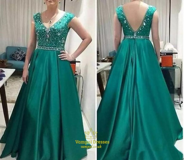 Green V-Neck A-Line Floor Length Satin Beaded Prom Gown With Open Back