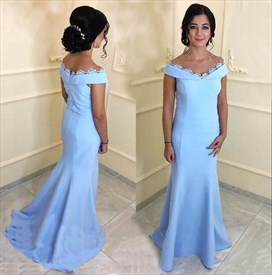 Trumpet/Mermaid Sky Blue Off The Shoulder Floor Length Evening Dress