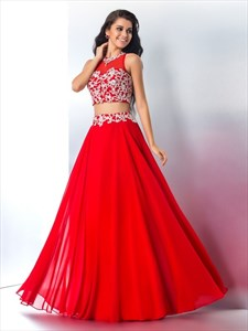 Red Sleeveless Two-Piece A-Line Chiffon Long Prom Dress With Lace