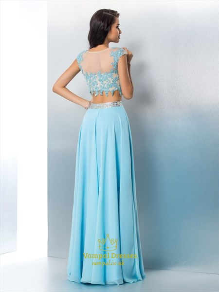 Two Piece Cap Sleeve A-Line Long Prom Dress With Illusion Lace Bodice