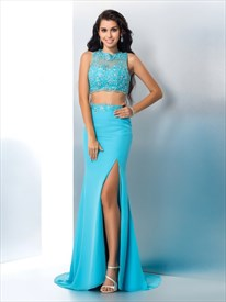Illusion Sleeveless Two Piece Floor-Length Prom Dress With Side Split
