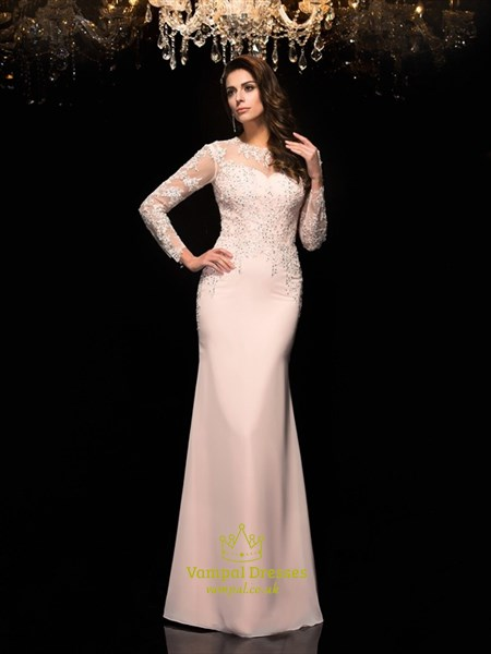 Illusion Long Sleeve Lace Bodice Chiffon Floor Length Evening Dress