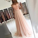 Blush Pink Sheer Half Sleeve Off The Shoulder A-Line Tulle Prom Dress