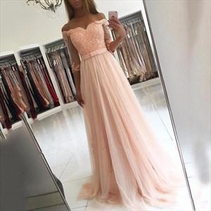Blush Pink Sheer Half Sleeve Off The Shoulder A-Line Tulle Prom Dress