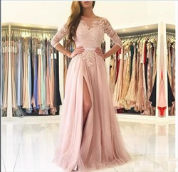 Illusion Neckline Lace Bodice Backless A-Line Prom Dress With Slits