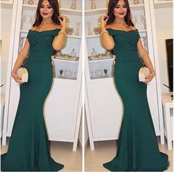 Elegant Hunter Green Off The Shoulder Mermaid Floor-Length Prom Dress