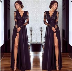 Black Illusion Long Sleeve A-Line Floor Length Prom Dress With Split