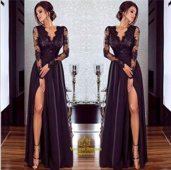 Black Illusion Long Sleeve A-Line Floor Length Prom Dress With Split