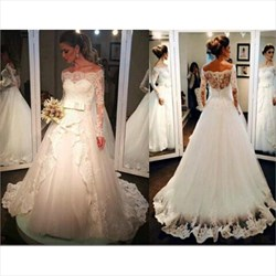 Elegant Long Sleeve Off The Shoulder A-Line Wedding Dress With Lace