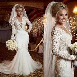 Long Sleeve Deep V-Neck Mermaid Lace Bodice Open Back Wedding Dress
