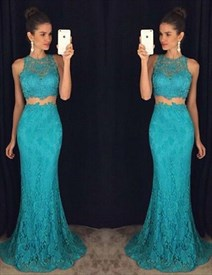 Elegant Lace Floor-Length Two-Piece Sleeveless Mermaid Evening Dress