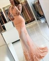 Illusion Lace Applique Long Sleeve Floor-Length Mermaid Formal Dress
